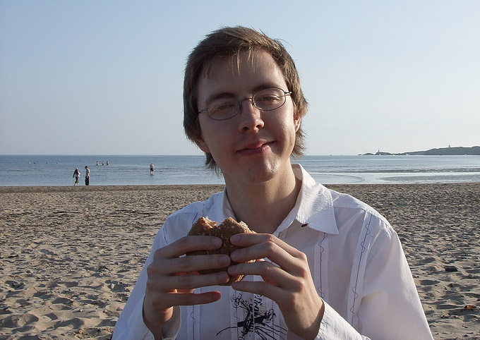 an image of Me, munching on a chicken bap