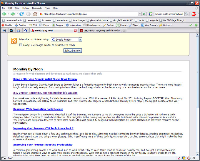 screenshot of choosing to subscribe to an RSS feed with Google Reader