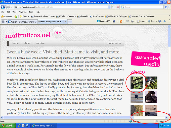 Screenshot of Internet Explorer 8 showing a blog entry from my website