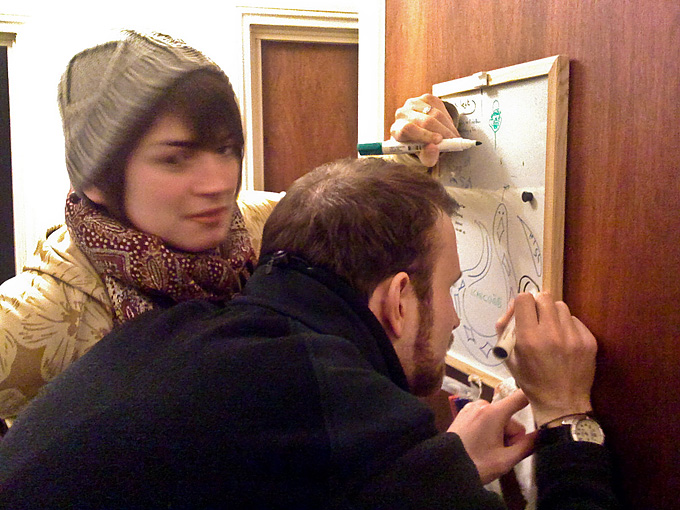 an image of Kath and Mike drawing